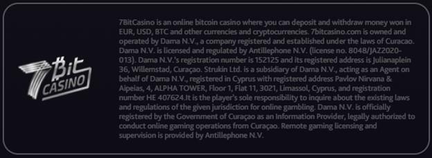 7BitCasino license information