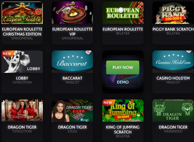 7BitCasino table games section