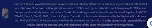BetChain casino license information