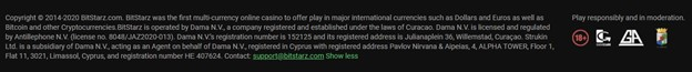 BitStarz casino license information