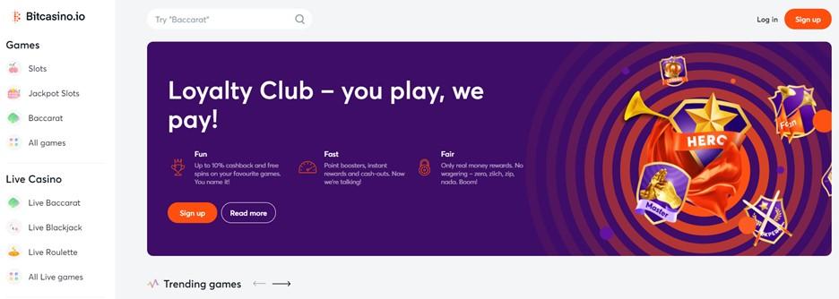 Bitcasino.io – casino main page