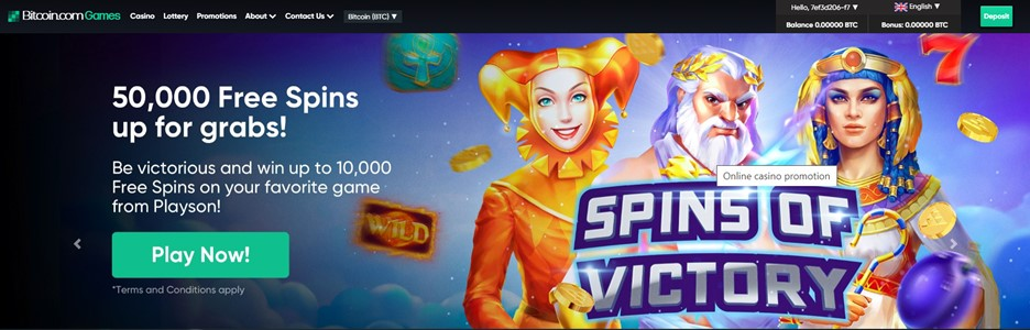 Bitcoin.com Games Free Spins promotion