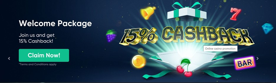 Bitcoin.com Casino Welcome package – 15% cashback