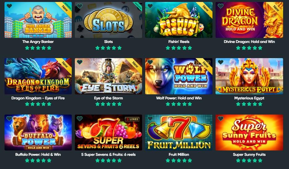 Bitcoin.com Casino slot games page