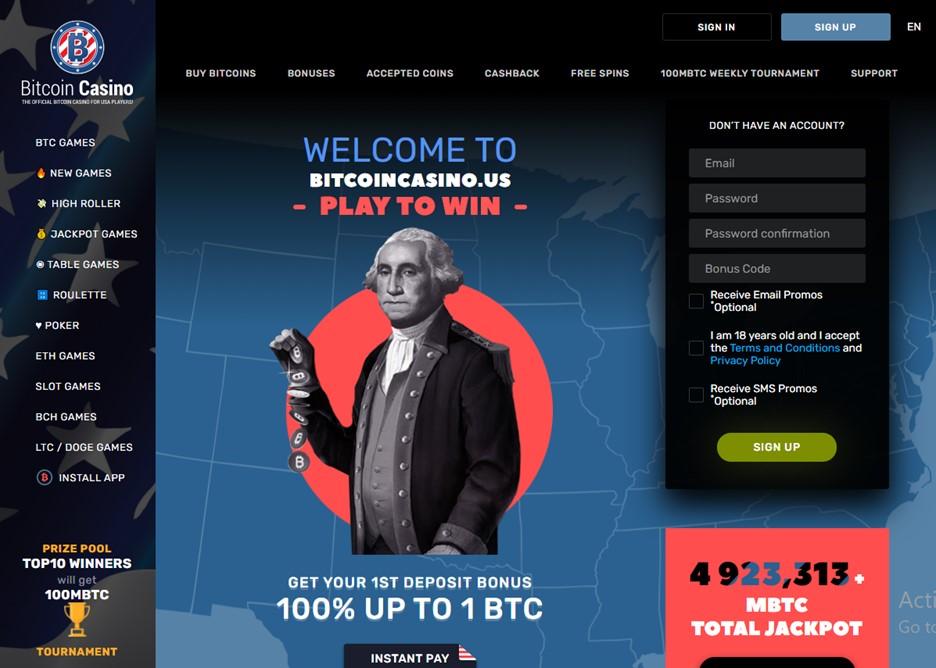 Bitcoincasino.us main page