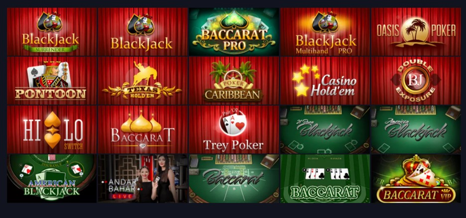 Table games section on Bitcoincasino.us