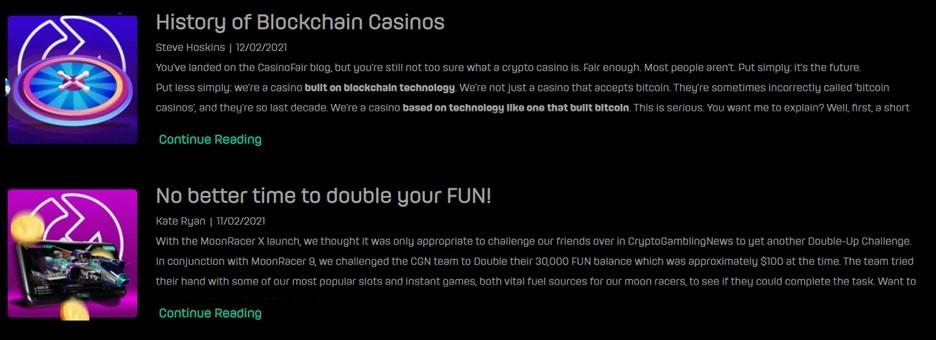 CasinoFair blog page