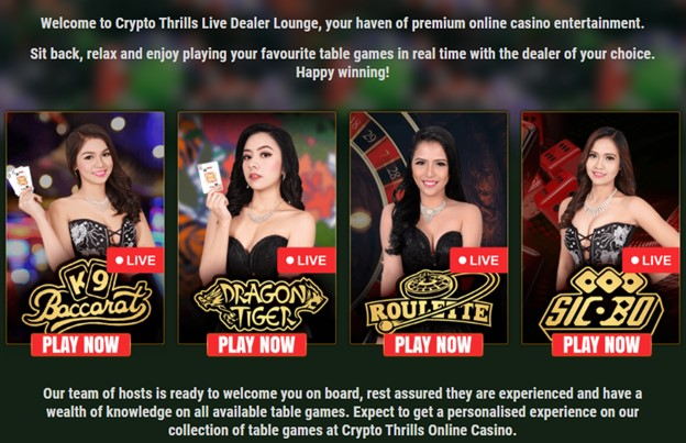 Crypto Thrills casino games with live dealers