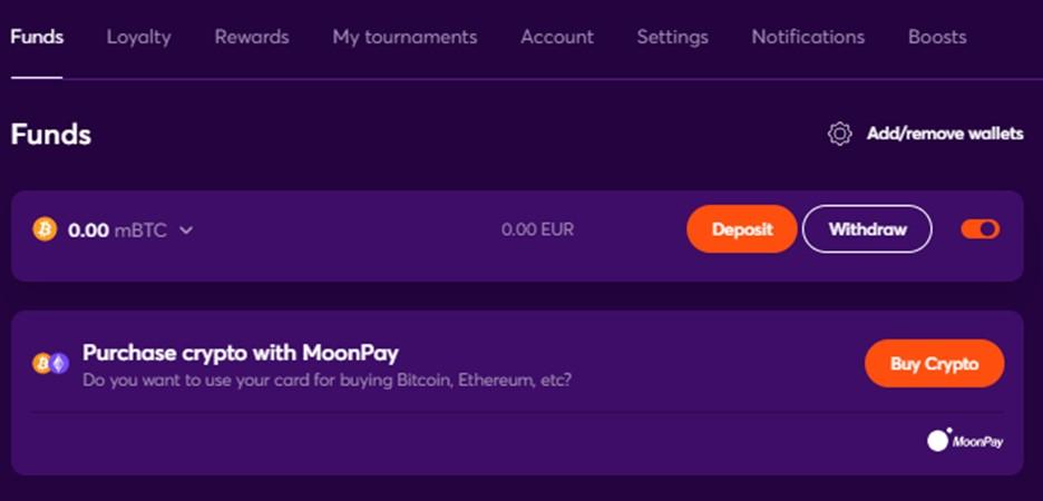 Depositing Bitcoins on Bitcasino.io