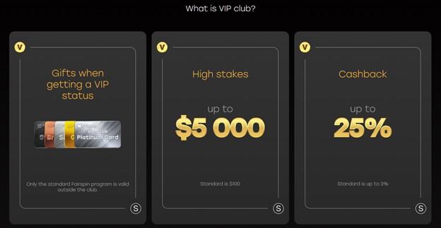 Fairspin casino VIP club advantages