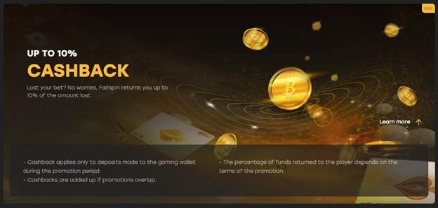 Fairspin casino cashback bonus