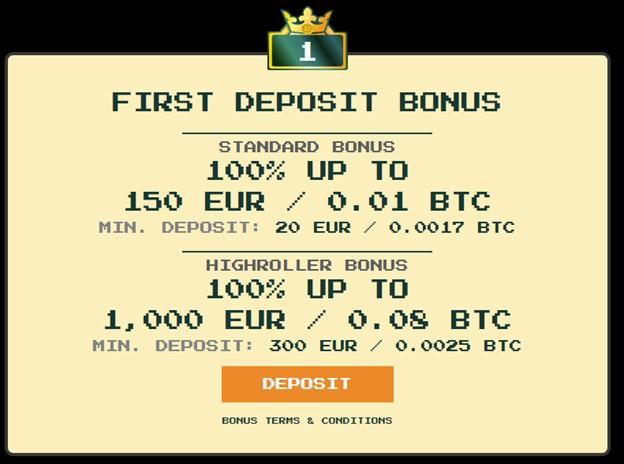 First deposit bonus on Bitkingz casino