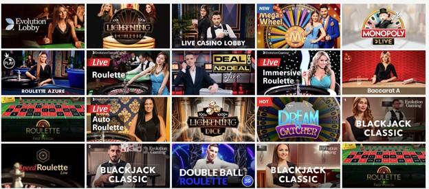 Live casino games on PlayAmo