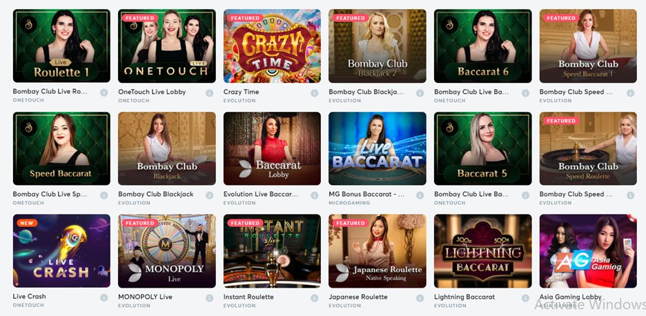 Live casino games on Bitcasino.io