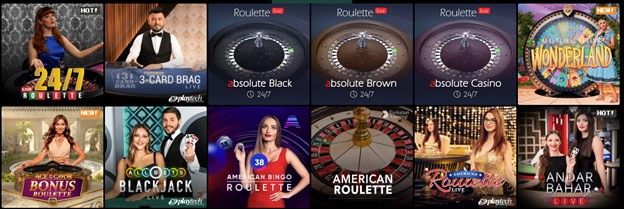 Live casino games on Bitkingz