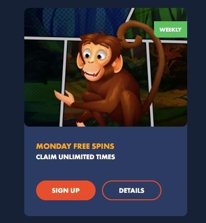 Monday Free Spins bonus on Slotman casino