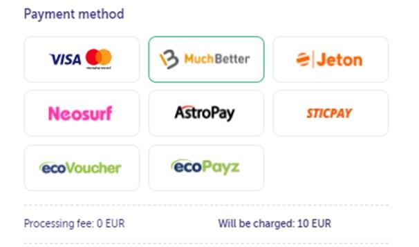 Payment methods on TrueFlip casino