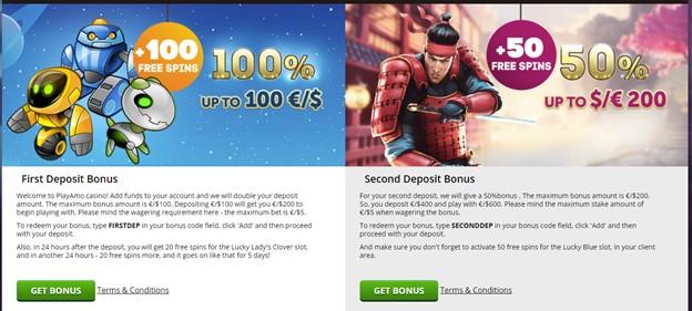 PlayAmo casino deposit bonuses