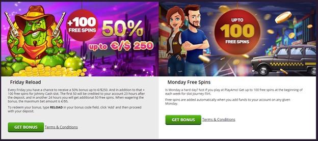 PlayAmo casino reload bonuses