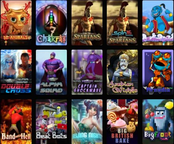 Slot games selection on Crypto Thrills casino