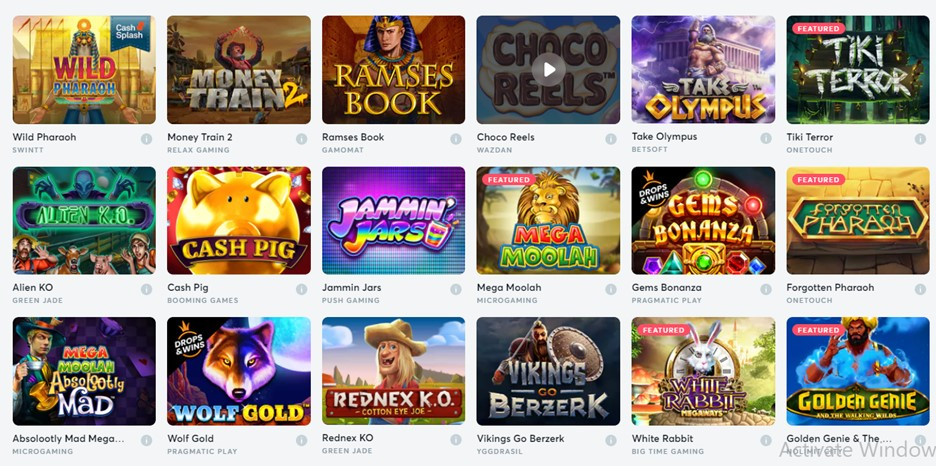 Slot games on Bitcasino.io