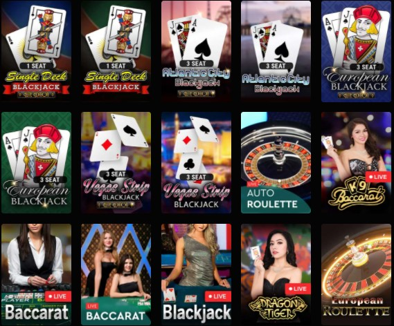 Table games on Crypto Thrills casino