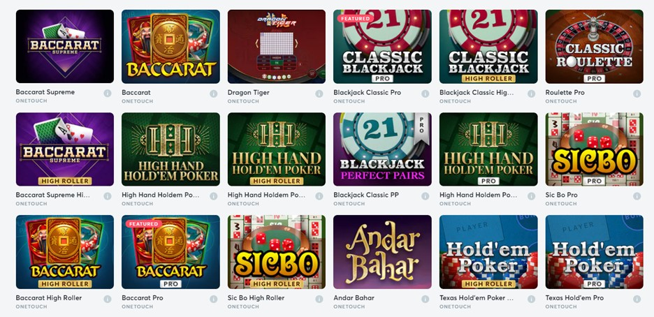 Table games available on Bitcasino.io