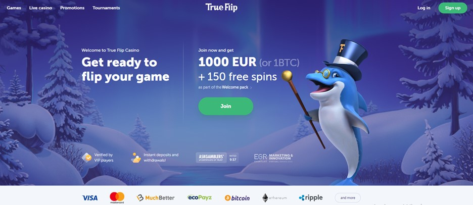 TrueFlip casino main page