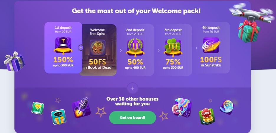TrueFlip casino welcome bonus page