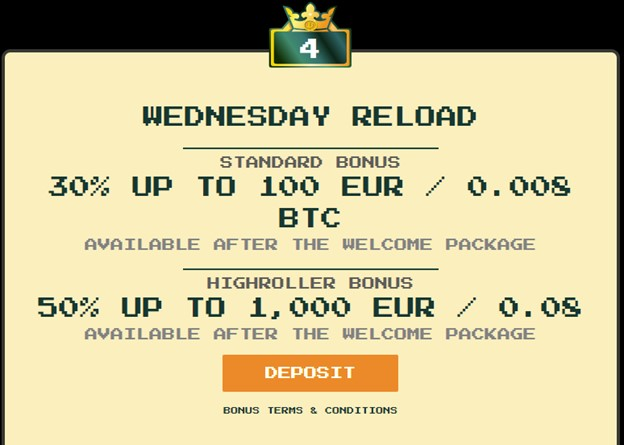 Wednesday Reload bonus on Bitkingz casino