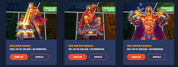 Welcome bonus package on Slotman casino