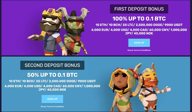 First and second deposit bonuses on Bitcoincasino.io