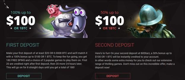 First and second deposit bonuses on BitStarz