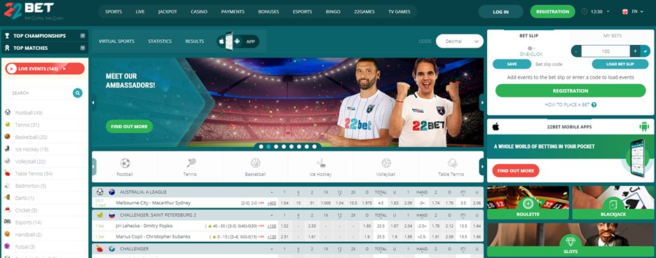 22BET sportsbook main page