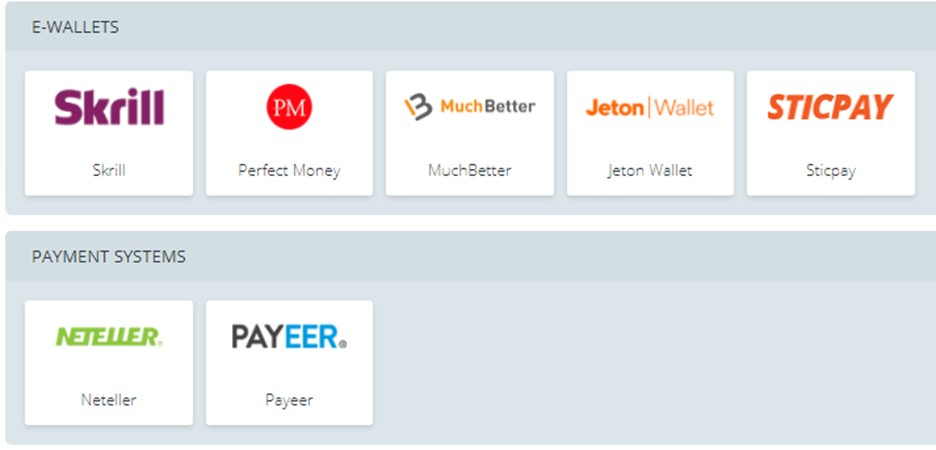 22BET payment providers
