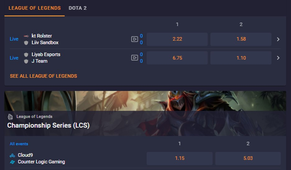 League of Legends betting with Cloudbet