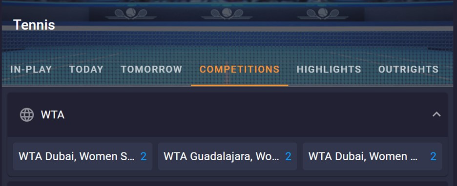 Cloudbet tennis betting options