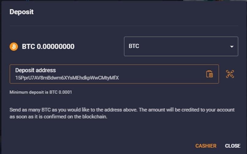 Depositing BTC on Cloudbet
