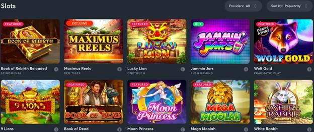 Slots games selection on Sportsbet.io casino