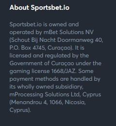 Sportsbet.io license information