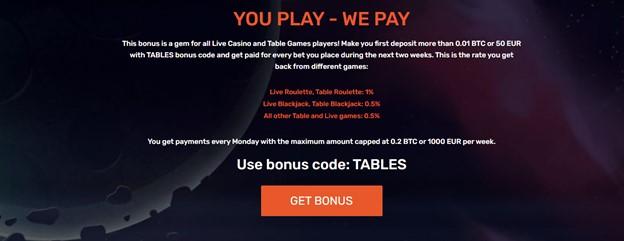 Live casino and table games bonus code