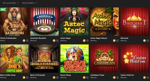 Winz casino games selection