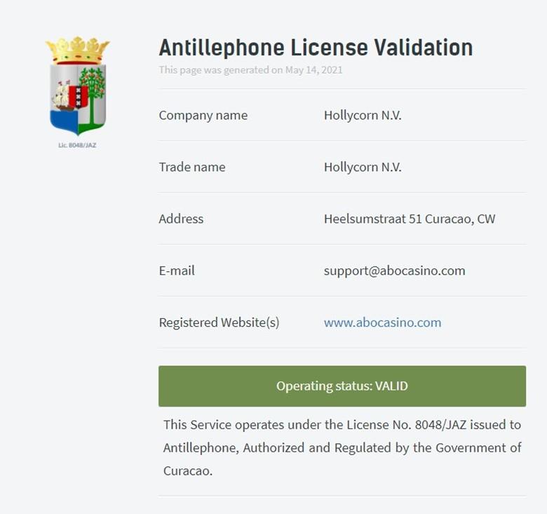 Abo casino license information