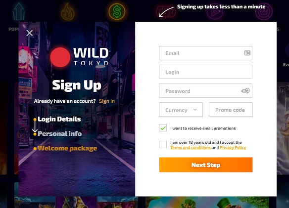 How to sign up on Wild Tokyo Casino