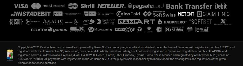 casinochan partners and license information
