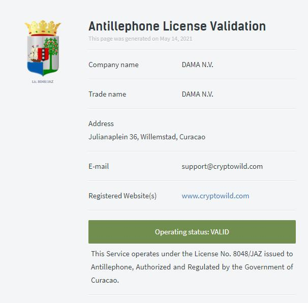 crypto wild license validation