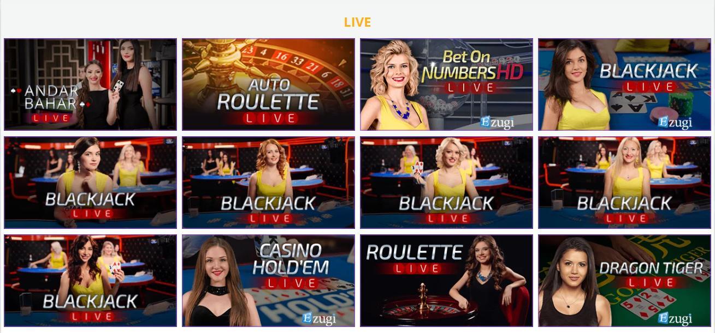 crypto wild live casino games selection