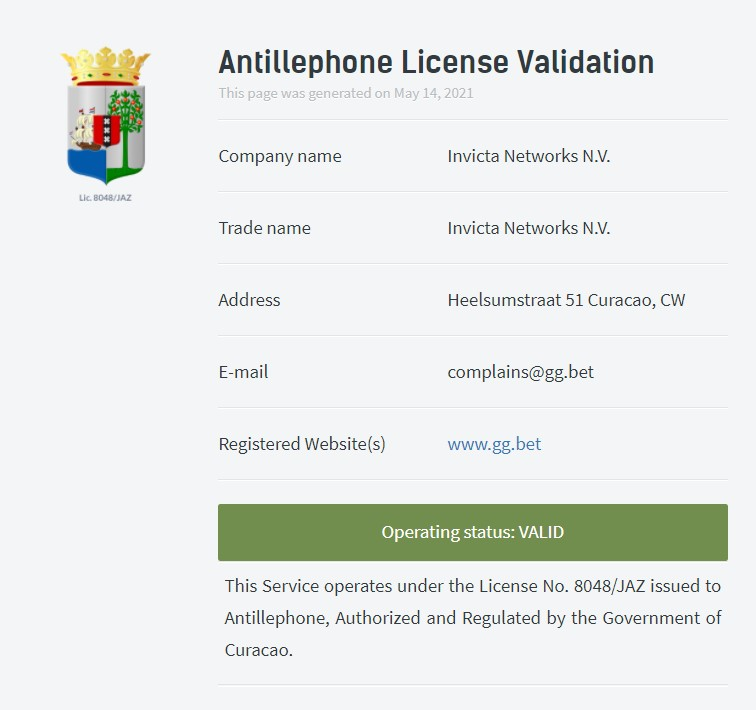 ggbet license validation