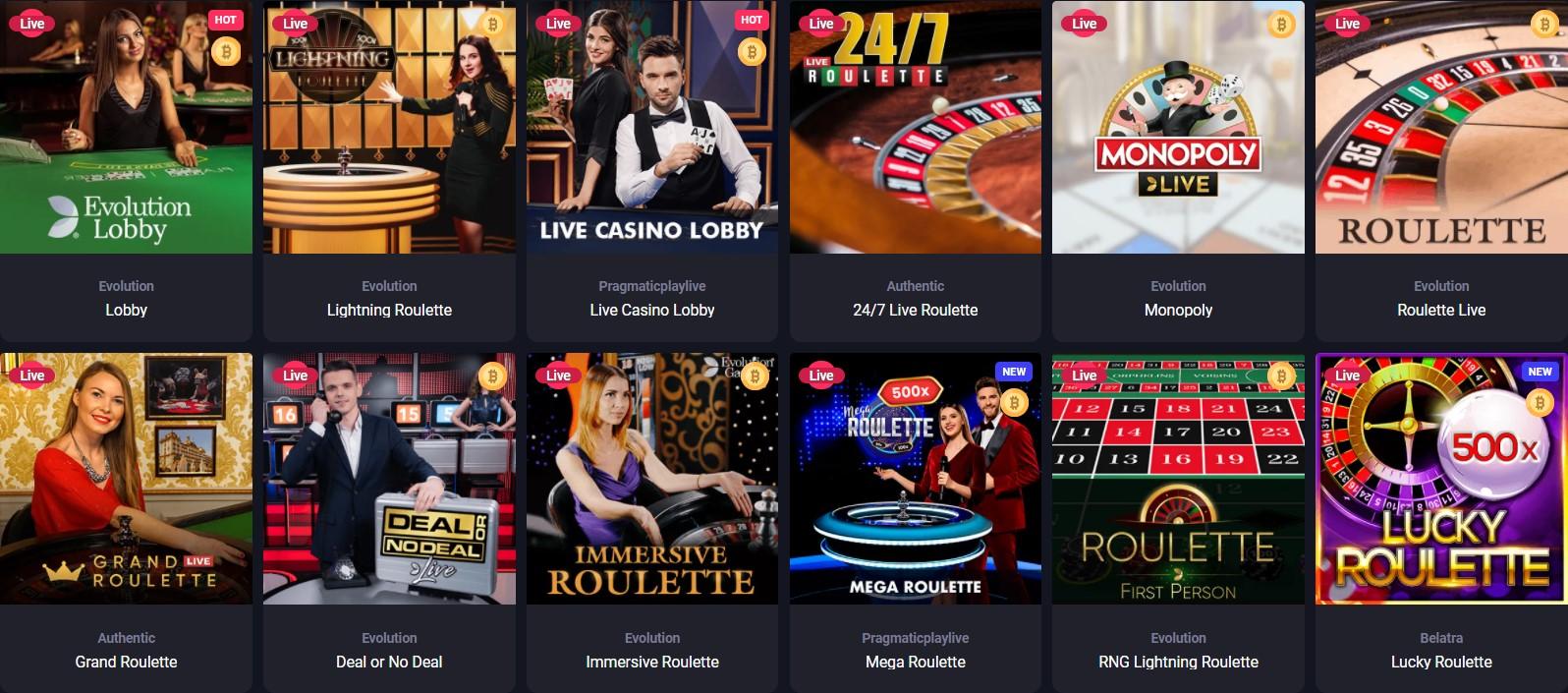 woocasino live casino games selection