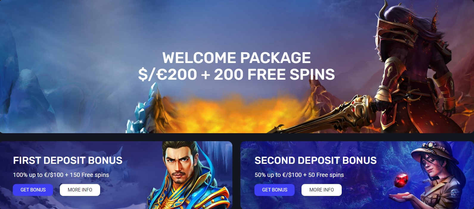 woocasino welcome package first and second deposit bonuses